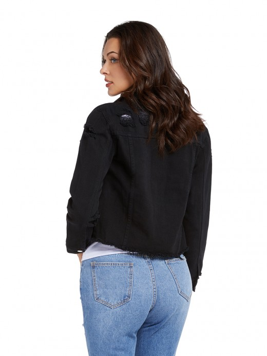 Attractive Black Front Button Denim Jacket Full Sleeve