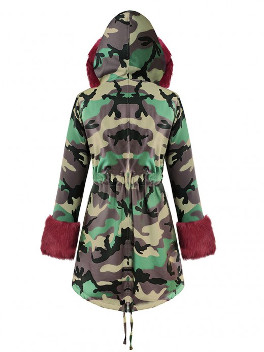 Ultra Sexy Camo Print Fur Inside Hood Parka Women Fashion Style