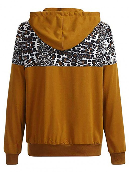 Seductive Deep Brown Drawstring Hooded Leopard Zipper Jacket