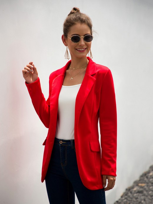 Voluptuous Red Formal Jacket Open Front Sold Color Good Elasticity