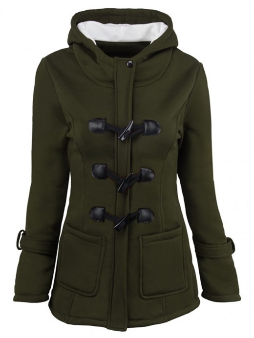 Breathable Army Green Coat Solid Color Full Sleeve Button Ladies Fashion