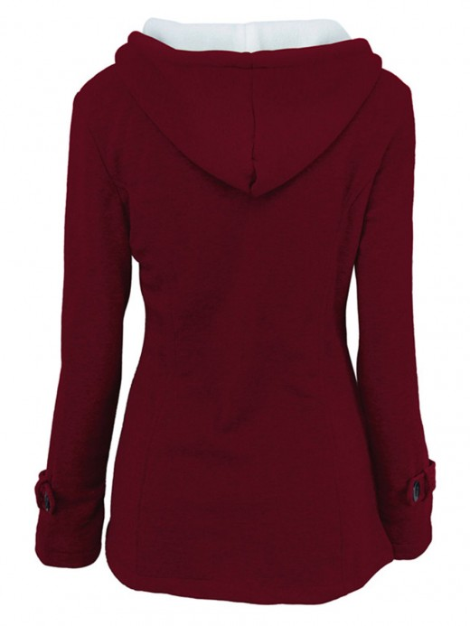 Daring Wine Red Solid Color Coat Long Sleeve Classic Clothing