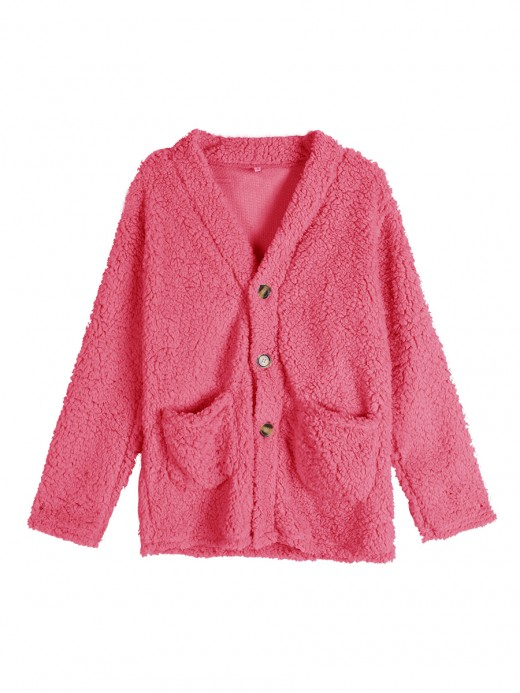 Catching Pink Button Front Coat Full Sleeve Women's Fashion