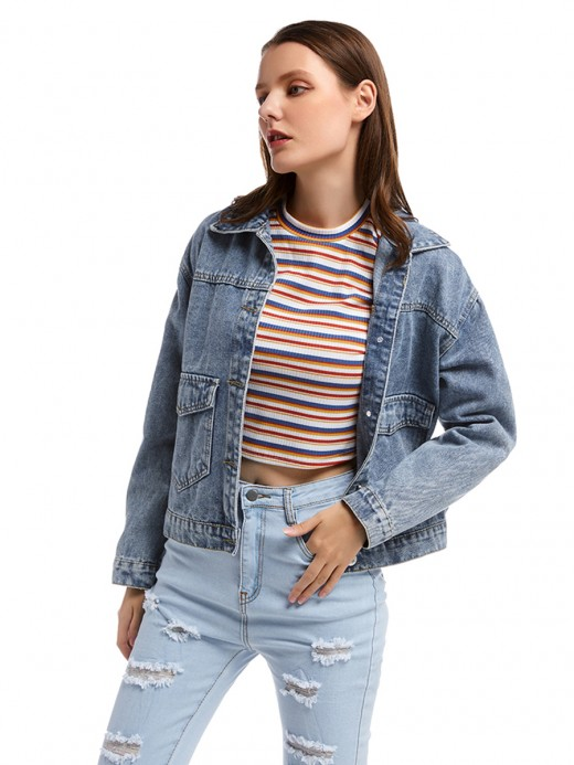 Characteristic Front Button With Pockets Denim Jacket Casual Wear