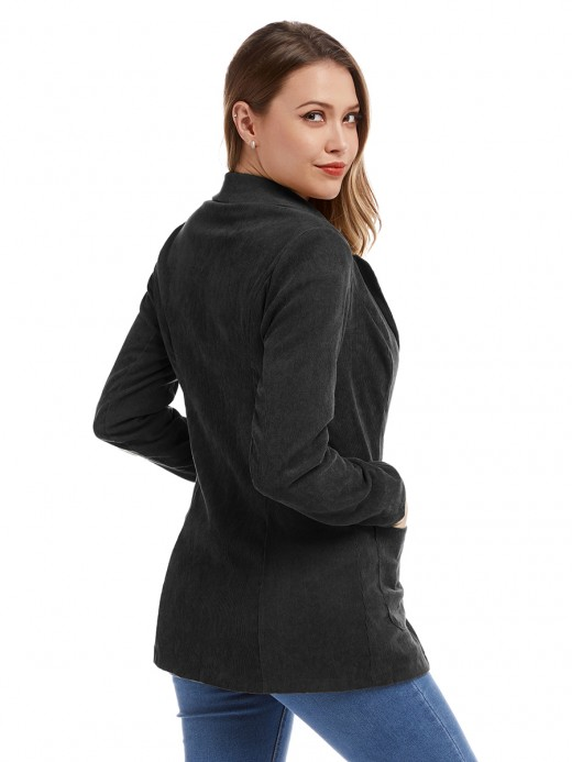 Dynamic Black Button Corduroy Jacket With Pockets Quality Assured