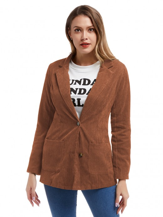 Exceptional Orange Full Sleeves Button Corduroy Jacket Feminine Confidence