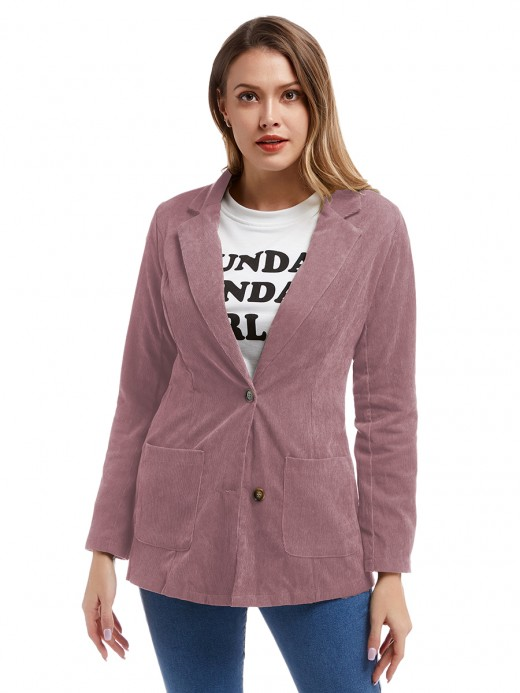 Spectacular Pink Front Button Pocket Jacket Lapel Neck Newest Fashion