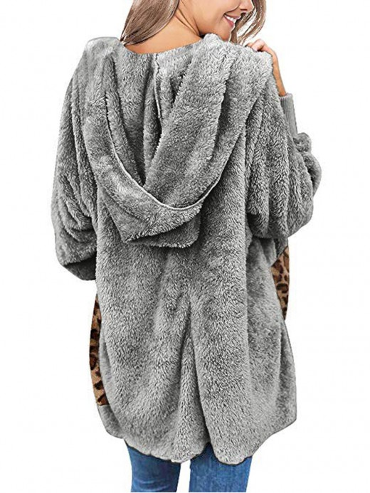 Relaxed Gray Leopard Paint Pockets Coat Open Front Casual Fashion