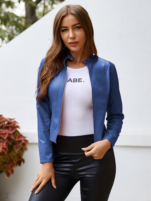 Ultra Sexy Blue Button PU Zipper Jacket Standing Neck Breath