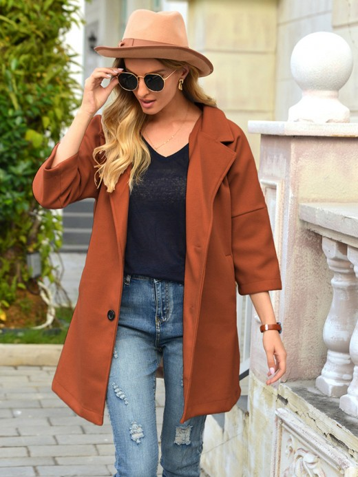 Brown Turndown Neck Coat Plain With Pockets All-Match Fashion