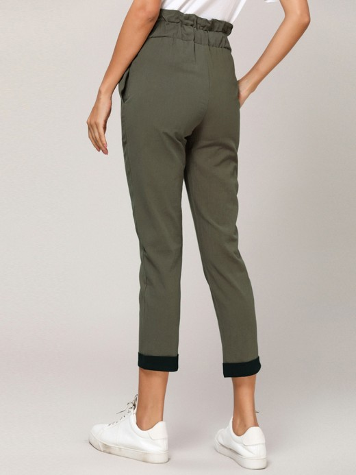 Glorious Army Green Ruched High Rise Capri Pants Tie Delightful Garment