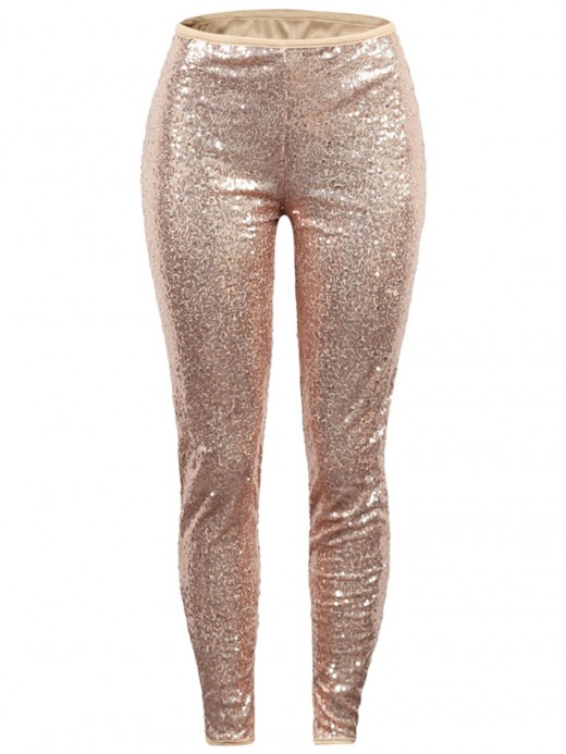 Splendor Apricot Sequin Pants Full Length Solid Color Sale Online