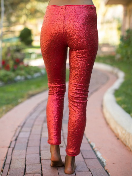 Online Red Sequin Solid Color Straight-Leg Pants Womens Fashion Shopping