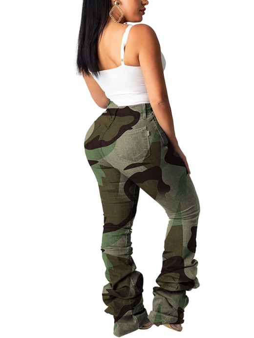 Likable Camo Print High Waisted Ruched Pants Ultra Sexy
