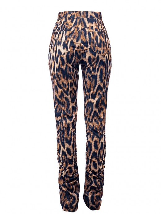 Stretch High Rise Plicated Pocket Pants Leopard Classic Clothing