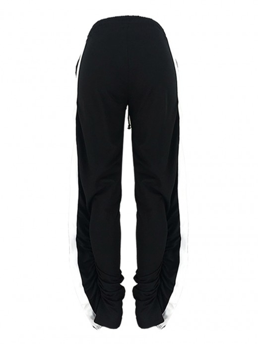 Sweetheart Black Patchwork Pants Full Length Hollow Out High Quality