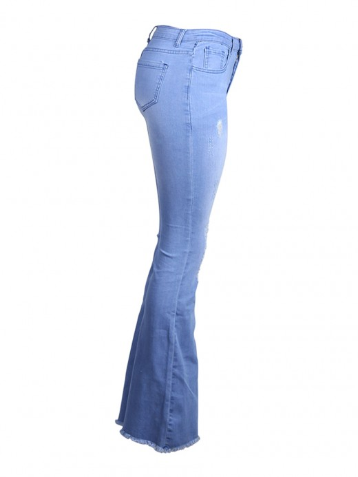 Vintage Blue Ripped Jeans Full Length High Rise Capture Elegance
