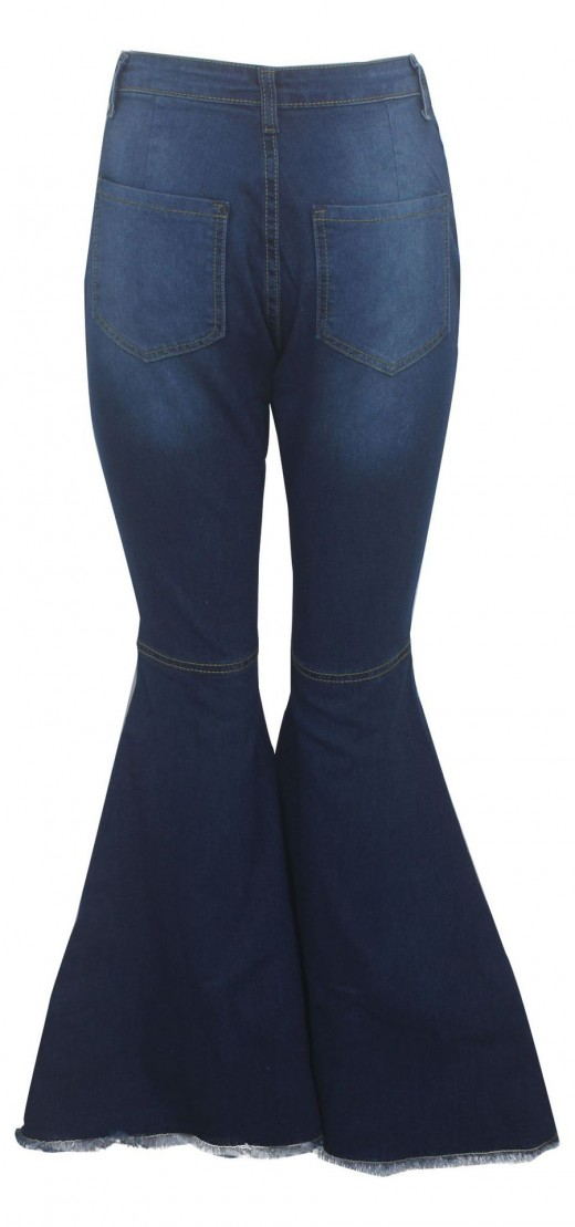 Vogue Blue Ripped Hole Denim Pants Bell Bottom Leisure Fashion