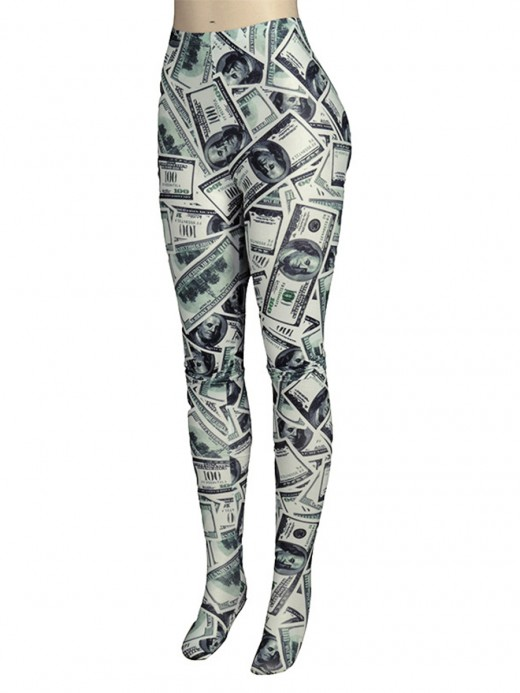 Black Wide Waistband Dollar Pattern Leggings Casual Comfort