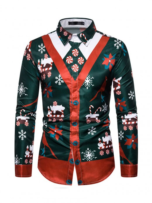 Modern Digital Print Man Christmas Blouse Fashion Style