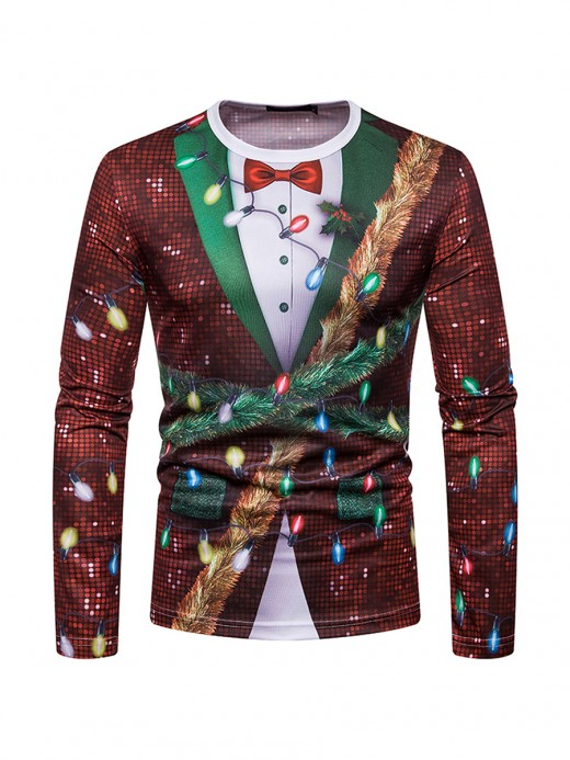 Form-Fitting Long Sleeves Mens Xmas Printing Top For Lounging