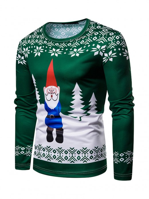 Young Lady Colorblock Long Sleeve Santa Claus Shirt Latest Trends