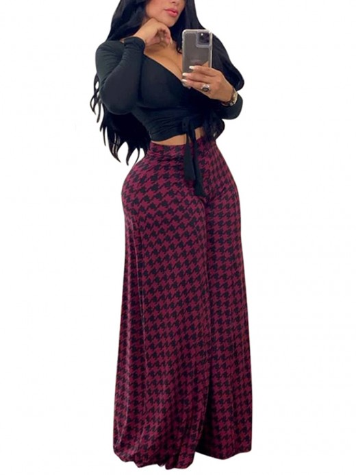 Dynamic Rose Red Wide Leg Houndstooth Pants High Waist For Lounging