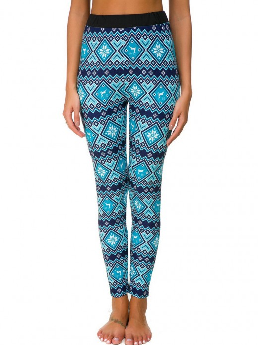 Distinctive Blue High Rise Leggings Christmas Printed For Camping