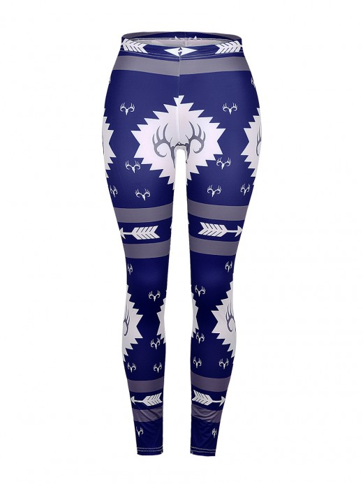 Ultra Contemporary Blue Ankle Length High Rise Print Leggings