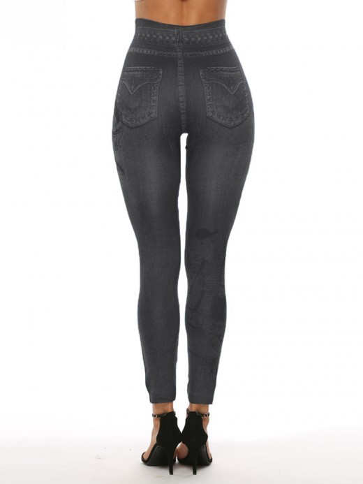 Gracious 7/8 Length Imitation Denim Leggings Fashion Design