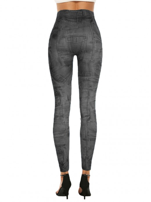 Eye Catching Denim Paint 7/8 Leggings High Rise Preventing Sweat