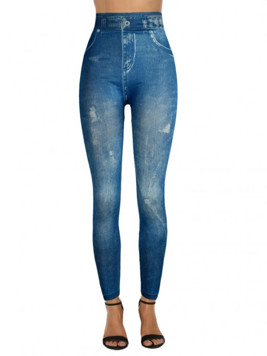 Exceptional Imitation Jeans High Waist Leggings Latest Fashion