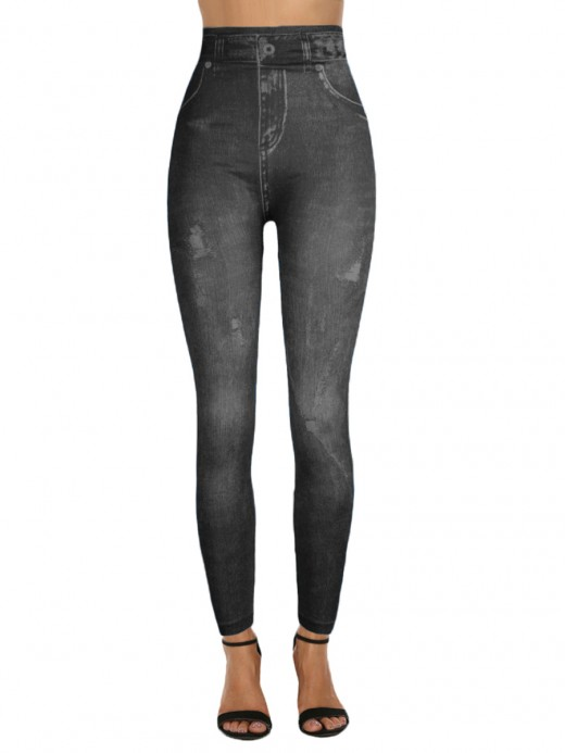 Homelike High Waist 7/8 Leggings Fake Jeans Streetstyle