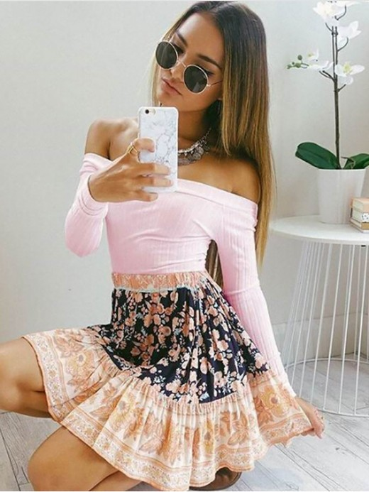 Conservative Pink Shirt Off The Shoulder Solid Color Essentials