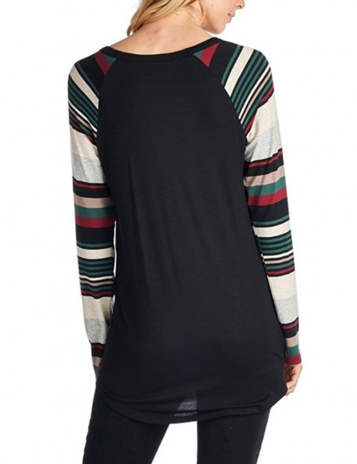 Bewitching Patchwork Stripe Sleeve Crew Neck Shirt For Sexy Women