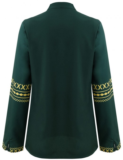 Classic Green Ethnic Print Shirt Stand-Up Collar Full Sleeve Fashion