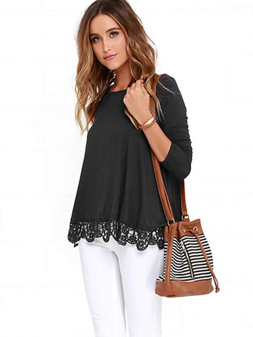 Happy Girl Black Round Neck Full Sleeve A-Line Shirt All-Match Style