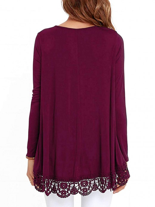 Passionate Rose Red Shirt Long Sleeve High-Low Hem Lace Women Clothes