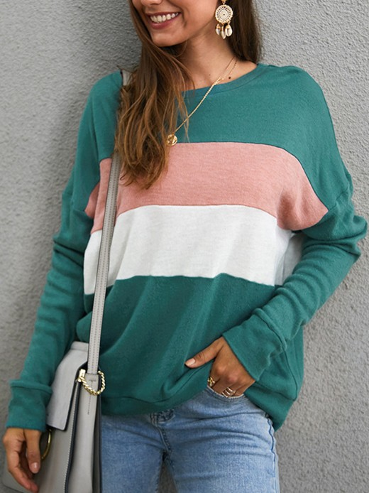 Vogue Green Round Collar Loose Shirt Long Sleeve All Over Smooth