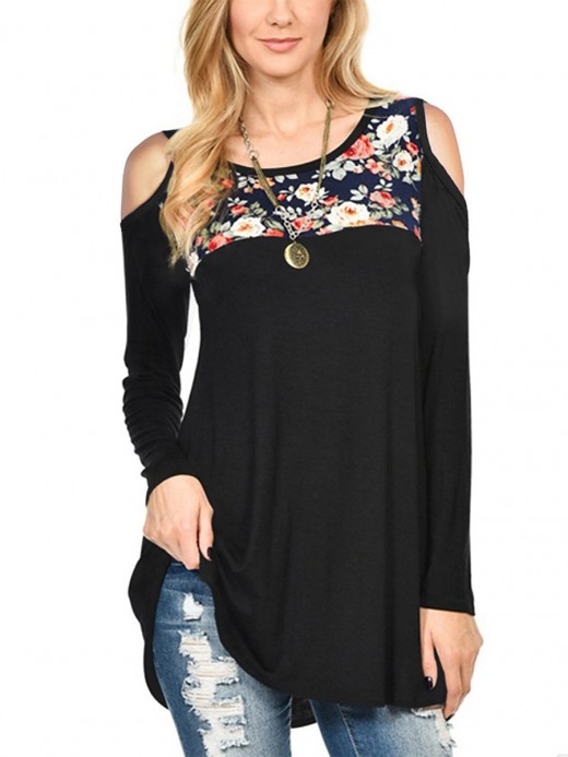 Typical Black Loose Shirt Long Sleeve Floral Paint Fashion