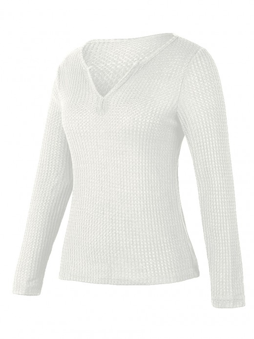 Passionate White Shirt Solid Color V-Collar Knit Tops For Women