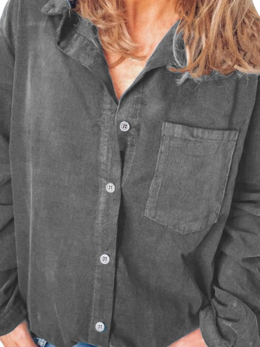 Glorious Dark Gray Button Front Rib Shirt Turndown Neck Sexy Fashion