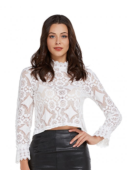 Sultry White Lace Long Sleeves Top Mock Neck Leisure Wear