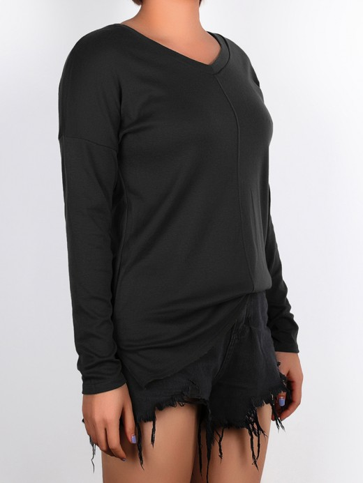 Woman Black V-Neck Shirt Solid Color Baggy Luscious Curvy