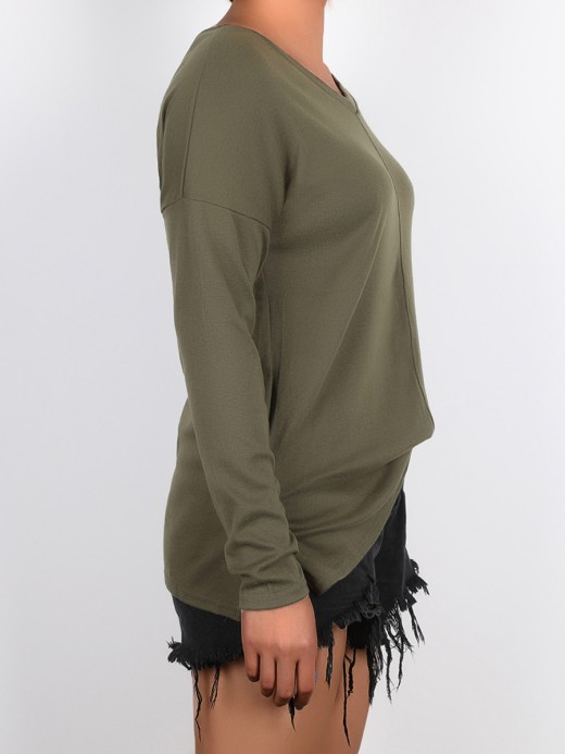 Splicing Army Green Baggy Shirt V-Collar Full Sleeve Splendid Look