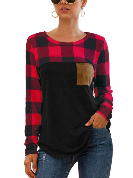 Inspired Round Neck Plaid Patchwork Shirt Chic Trend
