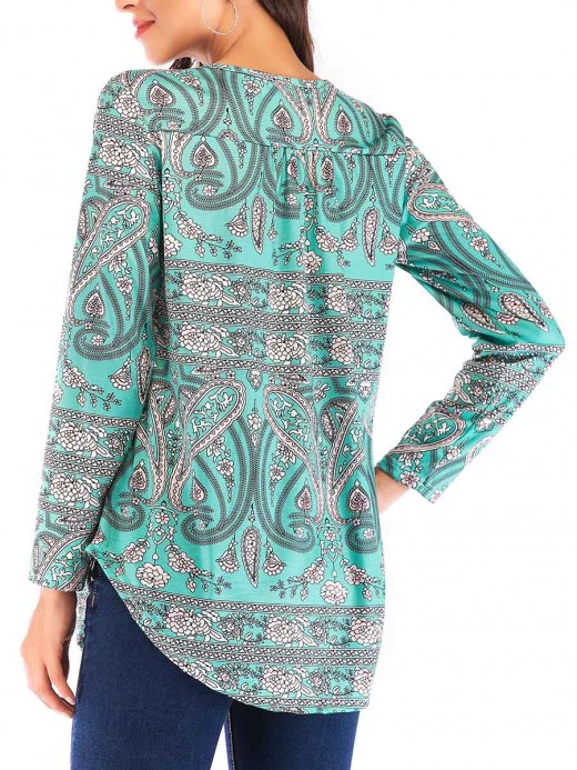 Sexy Ladies Green Ethnic Pattern Shirt Full Sleeve Online Fashion