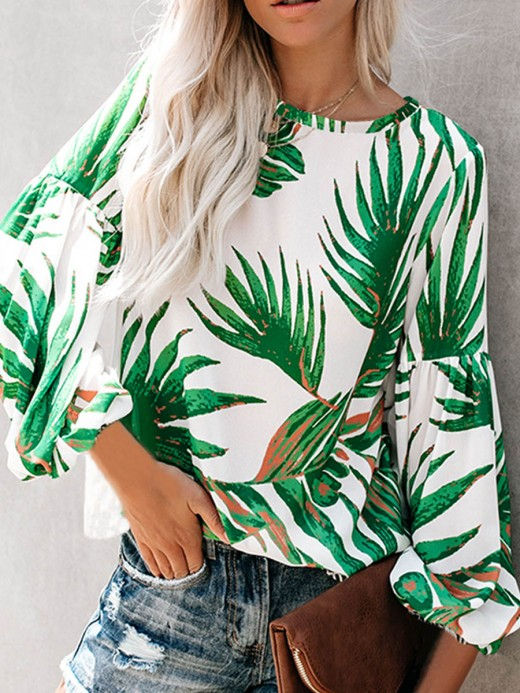 Seaside Green Puff Sleeve Leaf Print Shirt Rounded Hem Fashion