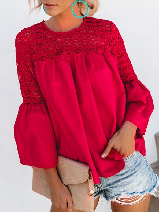 Effortless Red Hollow Out Lace Shirt Bell Sleeve Good Elasticity