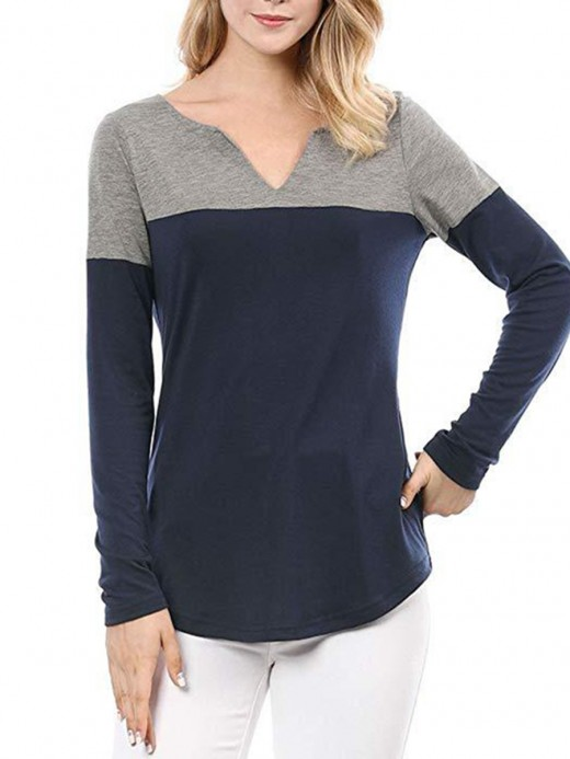 Elegant Patchwork V-Neck Hip-Length Shirt Women's Fashion Tops